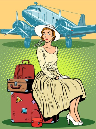 business class travel: woman passenger airport baggage pop art retro style. Travel and tourism. Retro trip. Personal belongings