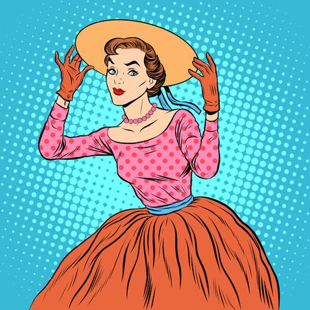 ファッショナブルな帽子ポップアートのレトロなスタイルを持つ軽薄少女。レディース ファッションと美容