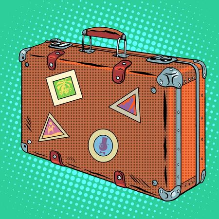 estilo retro del arte pop de equipaje que viaja maleta. Viaje y Turismo Ilustración de vector