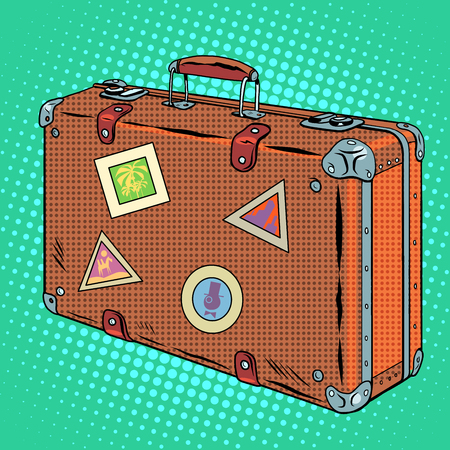 Suitcase traveler Luggage pop art retro style. Travel and tourism Illustration