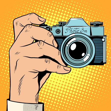 stock art: Retro camera snapshot selfie pop art retro style. Photo photography picture technique