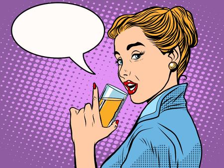 estilo de la muchacha bebida alcohólica arte pop retro. Un vaso de vino o champán. Fiesta y celebración Ilustración de vector