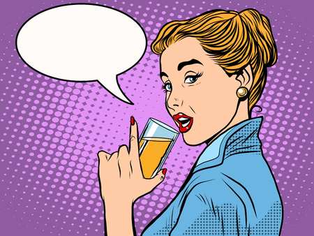 alcoholic drink: girl alcoholic drink pop art retro style. A glass of wine or champagne. Party and celebration Illustration