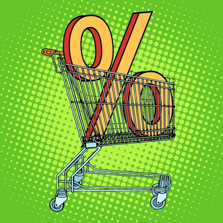 Grocery cart percentage discount pop art retro style. The business concept for trade and sale