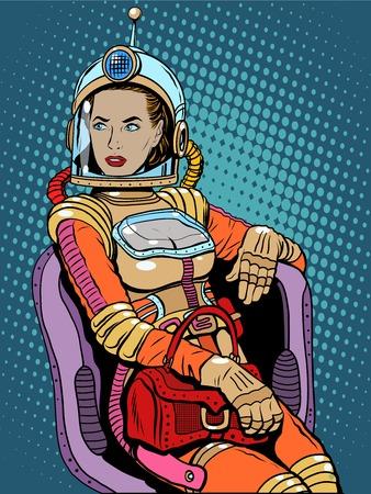 Espacio chica belleza sexy ciencia ficción pop art estilo retro. Una mujer sentada en una silla. Día Internacional de la Mujer. Poder femenino Ilustración de vector
