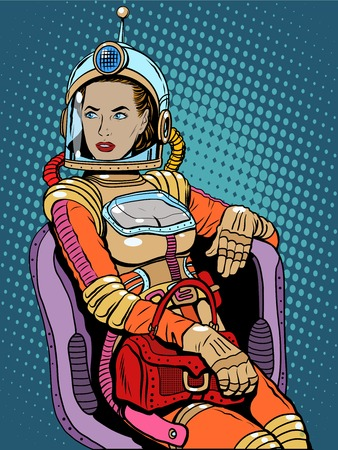 Space girl Schönheit sexy Science-Fiction-Pop-Art Retro-Stil. Eine Frau sitzt auf einem Stuhl. Internationaler Frauentag. Weibliche Macht Vektorgrafik
