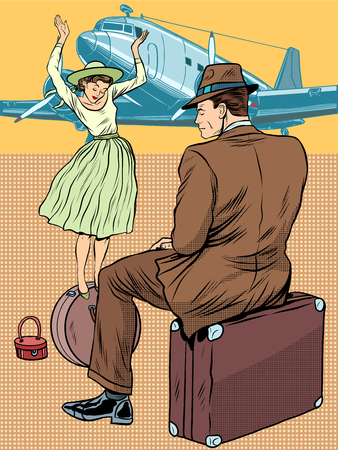cartoon circus: The girl on the suitcase. Passengers at the airport pop art retro style. Tourism and passenger transportation