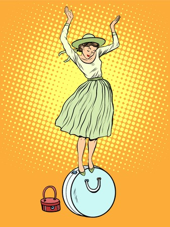 Girl gymnast on a suitcase pop art retro style. Acrobatics and circus. Travel Luggage