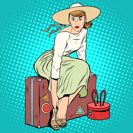 airport cartoon: The girl passenger Luggage pop art retro style. A tourist trip. Beautiful lady woman