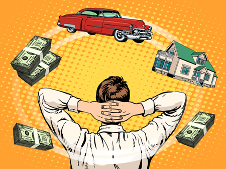 home buyer: Business dreams buyer home car income money pop art retro style. Finance and budget. Lending