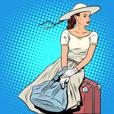 여자 승객화물 팝 아트 복고 스타일. 관광 여행. 아름 다운 아가씨 여자