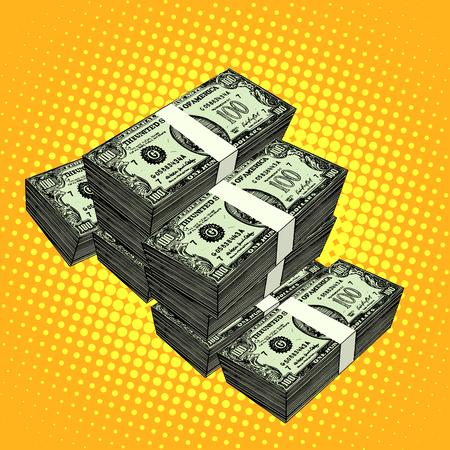money stacks: Money bundle of dollars pop art retro style. Finance and currency Illustration