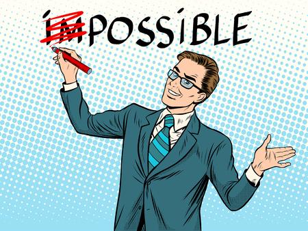 Impossible possible business concept pop art retro style. businessman leader man
