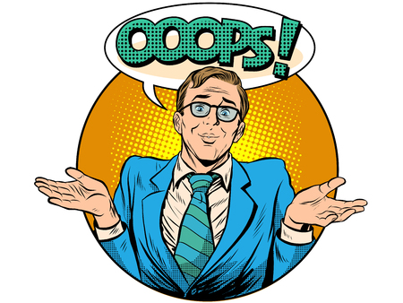 misunderstanding: Oops surprised businessman pop art retro style. Business concept error the bad news is a misunderstanding Illustration