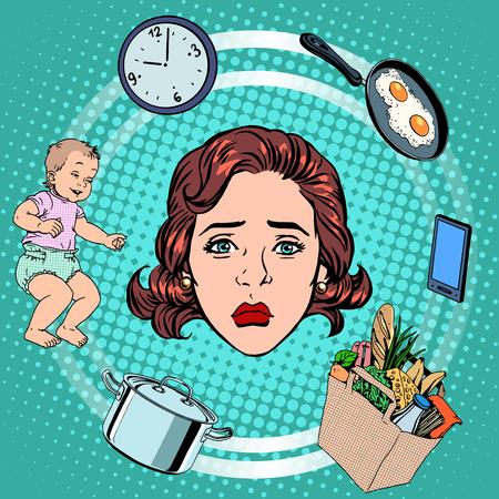 stil: Frau Hausarbeit Traurigkeit Pop-Art Retro-Stil. Internationaler Frauentag. Ehefrau und Hausfrau Illustration