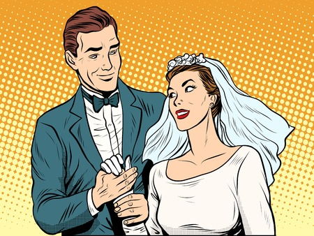 betrothal: Wedding betrothal engagement groom bride love pop art retro style. Couple man and woman in wedding attire. Romance and feelings Illustration