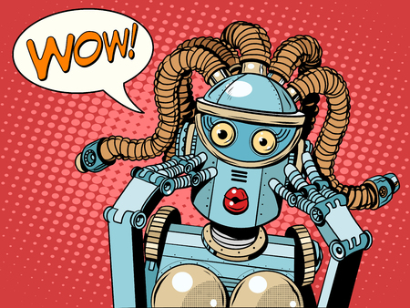 Wow beautiful woman robot pop art retro style. Unexpected news. Technology and progress. The invention and gadgets. Womens emotions. Humanoid robot
