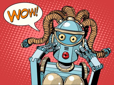 Wow piękne kobiety robota pop art retro styl. Niespodziewane wieści. Technologia i postęp. Wynalazek i gadżety. emocje kobiet. humanoid Robot