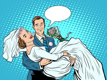enamorados caricatura: Pares de la boda del amor de la novia del novio en el estilo del arte pop retro mano. La celebraci�n ceremonia de compromiso. El hombre y la mujer en el amor. Invitaci�n de la boda de San Valent�n d�a