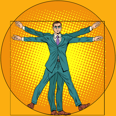 A businessman in the style of Vitruvian man. pop art retro style. Homo vitruviano. Vitruvian Man. Illustration