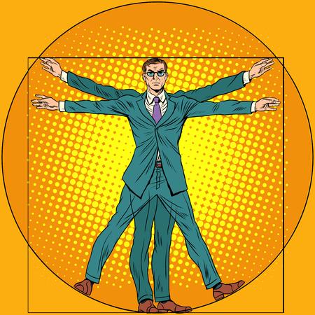 uomo vitruviano: Un uomo d'affari nello stile di uomo vitruviano. pop art stile retrò. Homo vitruviano. Uomo Vitruviano.