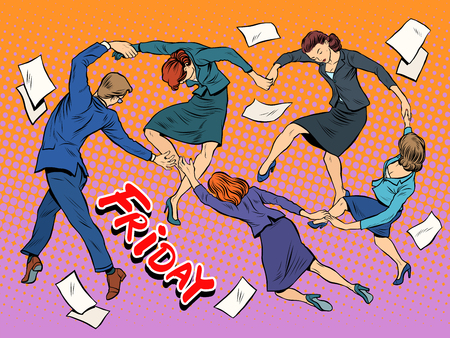 office party: Dance in the office Friday holiday joy business pop art retro style. The end of the day. Party Illustration