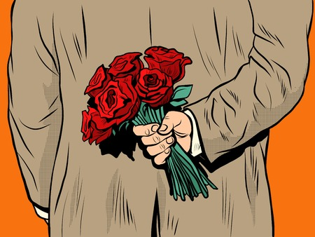 Blumen-Bouquet Rosen Geschenküberraschung Pop-Art Retro-Stil. Der Mann gratuliert der Frau. Internationaler Frauentag. Ferien Geburtstag. Liebe und Fürsorge. Valentinstag