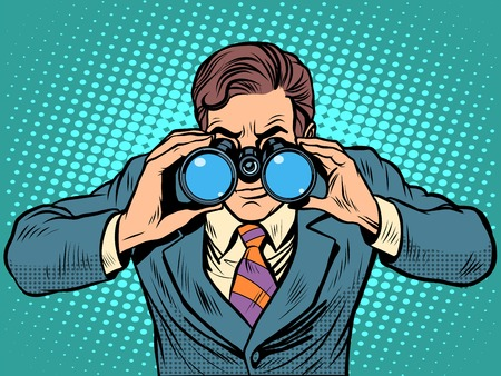 tracking: Businessman looking through binoculars. Lead vision Navigator pop art retro style. Business concept vision of the future