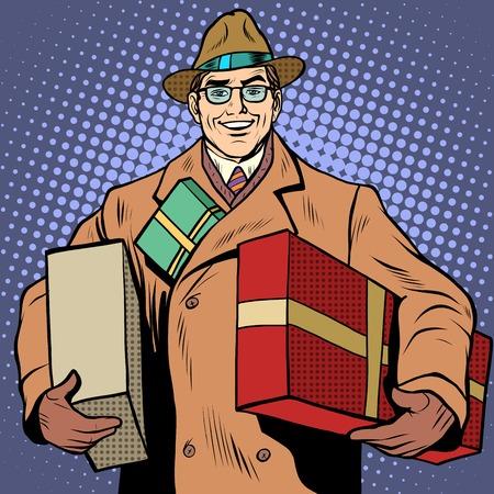 graduacion caricatura: Hombre alegre con los regalos de navidad saludos estilo retro pop art. Cumplea�os. D�a de San Valent�n. D�a Internacional de la Mujer. Marido felicita a su esposa. El amor y el romance Vectores