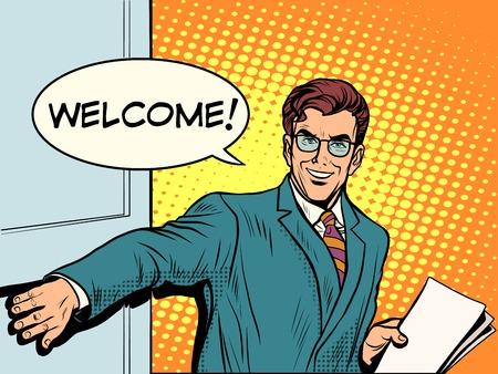 offen: Willkommen Geschäftsmann öffnet die Tür Pop-Art Retro-Stil. Eingang. Der Beginn des Geschäftstreffen Illustration