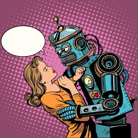 robot: Robot kobieta miłość technologii komputerowej sztuki pop w stylu retro. Loving para mężczyzna i kobieta. Technologia komputerowa i ryzyko postępu technicznego. Maszyn i ludzi.