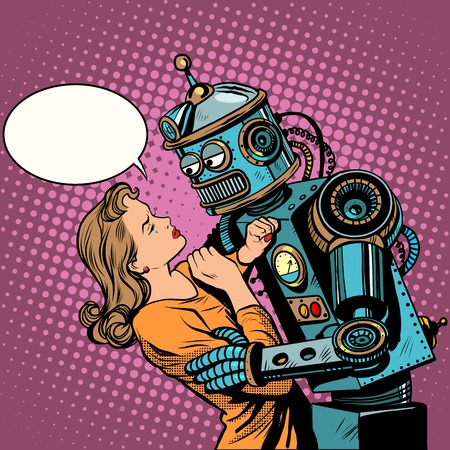 Robot woman love computer technology pop art retro style. Loving couple man and woman. Computer technology and the danger of technical progress. Machine and people.