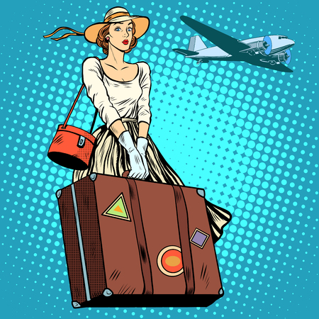 Meisje reizen koffer vliegveld pop art retro stijl. Tours en toerisme. Vakantie, reis, vlucht