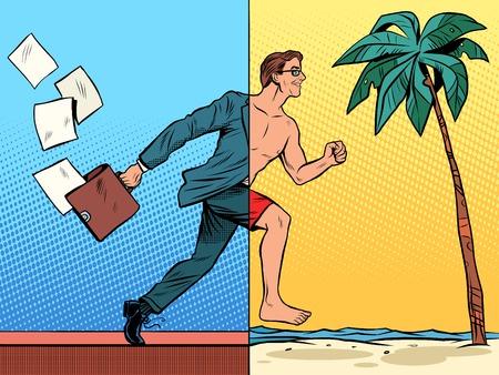 El hombre de negocios soñando con el estilo del arte pop retro resto. Playa tropical turismo mar. concepto de negocio de trabajo de oficina. alegría viajes de vacaciones