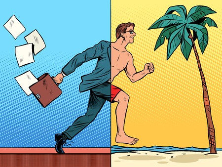 Businessman dreaming about the rest pop art retro style. Beach sea tourism tropics. Office work business concept. Vacation travel joy Stock Illustratie