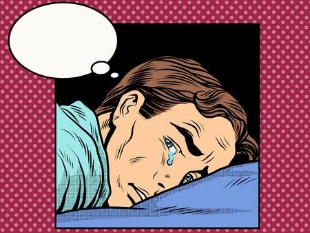 enamorados caricatura: El hombre llora l�grimas estilo del arte pop retro. hombres emocionales rom�nticas. El amor y las relaciones. Sentimientos y emociones