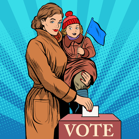 Mother and child women vote in elections pop art retro style. Politics and elections. The Womans Voice. The state and voters Illustration