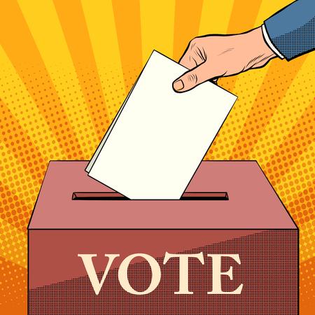 politics: voter ballot box politics elections pop art retro style. Ballot. Civil rights. The right choice Illustration