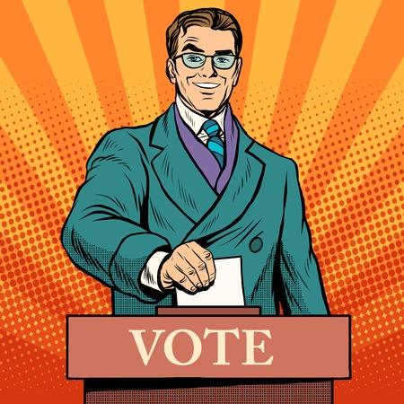 Candidate votes at the elections pop art retro style. Male politician at a polling station. The voice of men. The voter at the ballot box