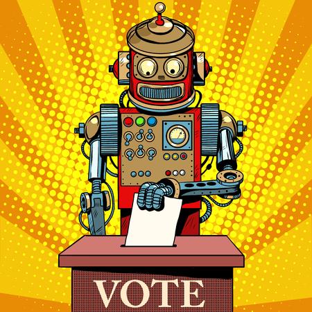 computadora caricatura: Robot de la votación de votantes el día de las elecciones de estilo retro pop art. La política y el Estado. El futuro de la humanidad. Ciencia ficción. Inteligencia artificial