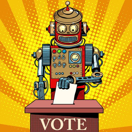 primaries: Robot the voter vote on election day pop art retro style. Politics and the state. The future of humanity. Science fiction. Artificial intelligence