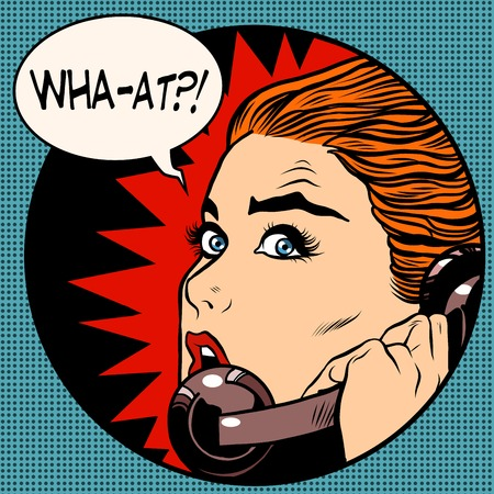 what a woman speaks on the phone pop art retro style. Question. Unexpected news, gossips. Communication and technology