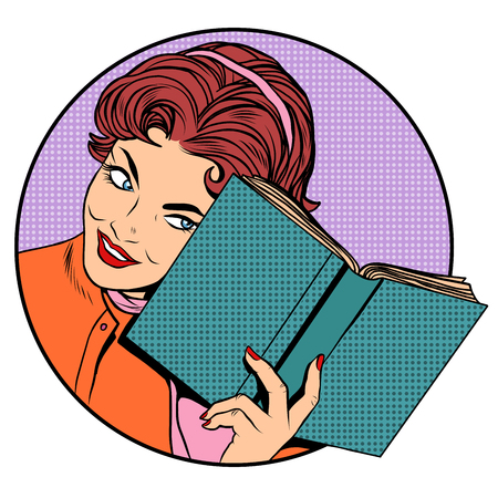 Woman with a book pop art retro style. Literature and reading. Education school University. Clever girl Vettoriali