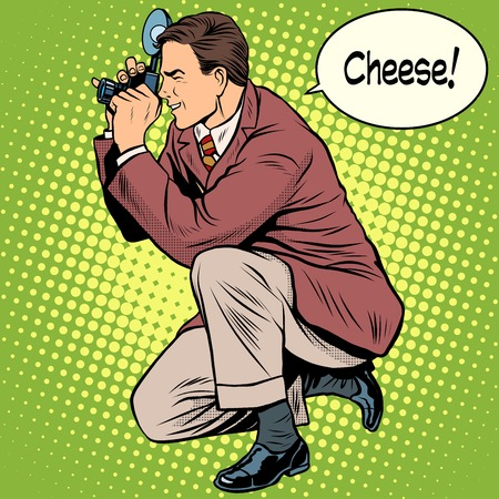 cheese cartoon: Photographer photographing cheese smile pop art retro style. Appliances and gadgets. The triumph and work of the photographer. Illustration