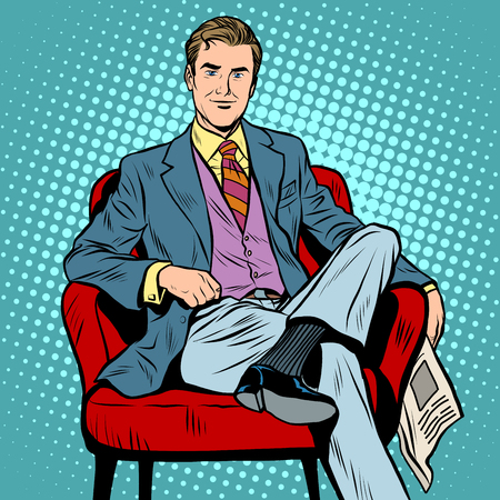 aristocrat: Boss businessman Director pop art retro style. Top Manager. A successful business. Portrait of a businessman. The man with the newspaper. The man in the chair. Businessman vector Illustration