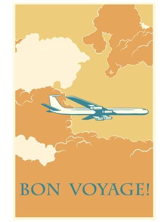reise retro: Retro Flugzeug Bon voyage Pop-Art Retro-Stil. Vektor-Illustration Flugzeug. Lufttransport. Reisen