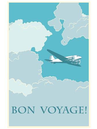 voyage: Retro airplane Bon voyage pop art retro style. Vector illustration plane. Air transport. Travel tourism Illustration