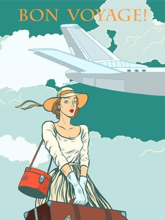 reise retro: Mädchen Passagierflugzeug Bon voyage Pop-Art Retro-Stil. Reisen und Tourismus. Frau am Flughafen mit Gepäck. Illustration