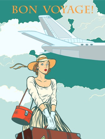 girl passenger plane Bon voyage pop art retro style. Travel and tourism. Woman at airport with Luggage.