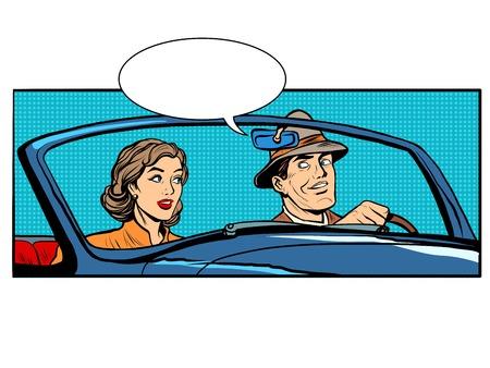 Couple homme et femme dans cabriolet voiture pop art style rétro. Le conducteur et le passager. Transport sur la route